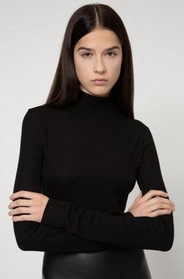 Slim-fit top in stretch jersey with mock neck, Black