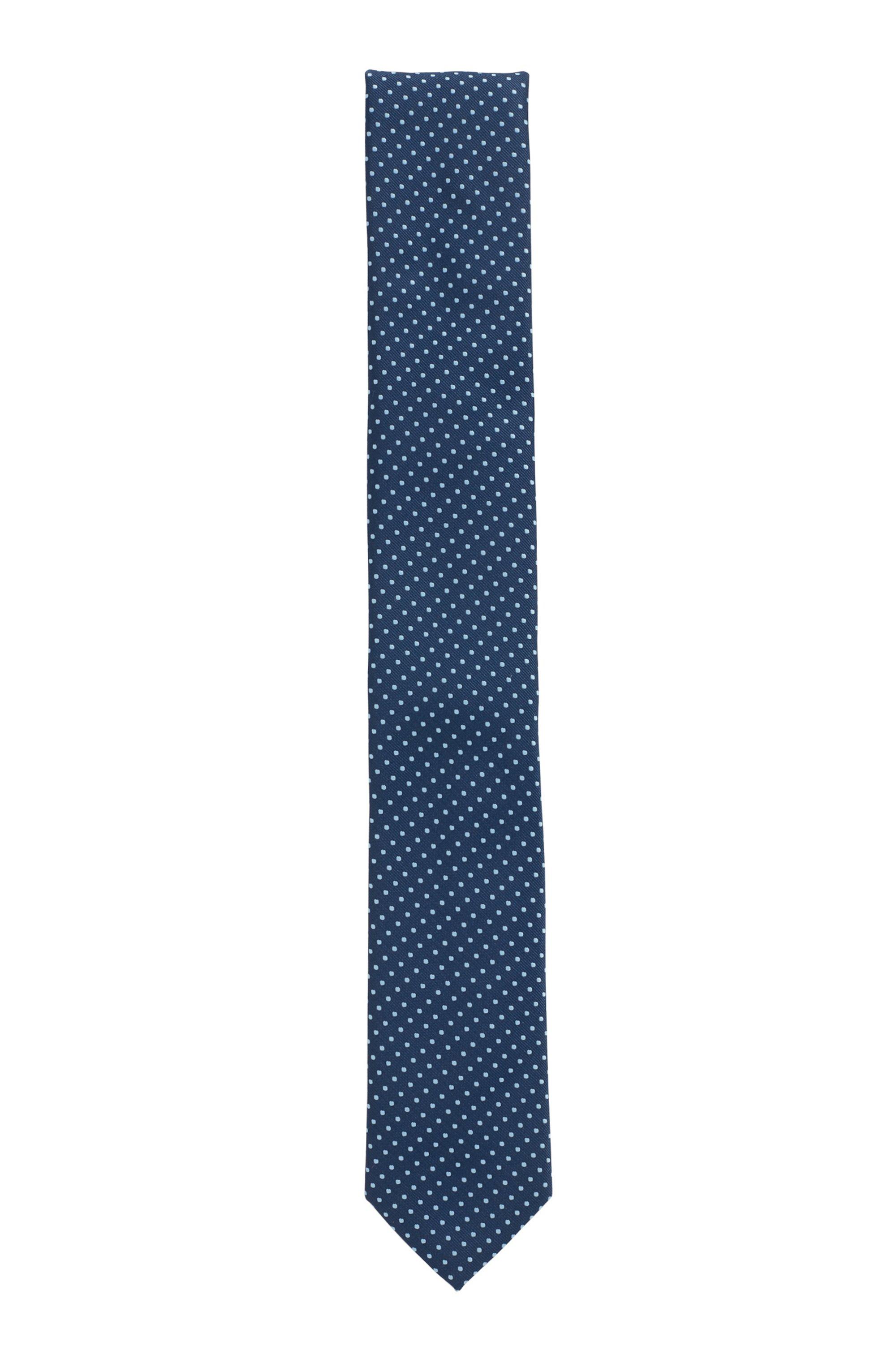 Cravatta a motivi realizzata in Italia in tessuto riciclato 100%, Celeste