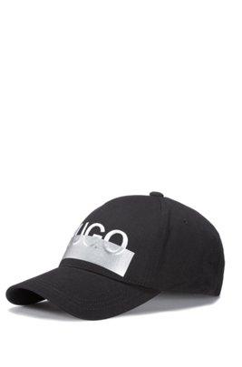 Cap aus Baumwoll-Twill mit Logo-Stickerei der Saison, Schwarz
