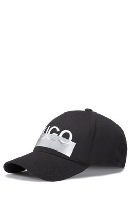 Cotton-twill cap with seasonal logo embroidery, Black
