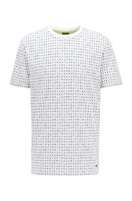 T-shirt van katoenpiqué met all-over-print, Wit