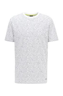T-shirt van katoenpiqué met all-over-print, Wit