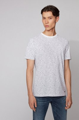 Cotton-piqué T-shirt with all-over print, ホワイト