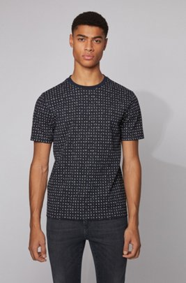 Cotton-piqué T-shirt with all-over print, Dark Blue