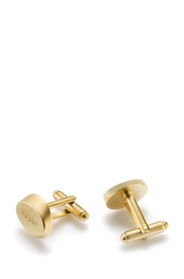 Logo cufflinks in highly polished brass, Gold