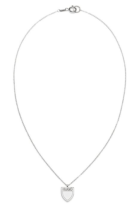 Logo-engraved stainless-steel pendant on chain necklace, Silver