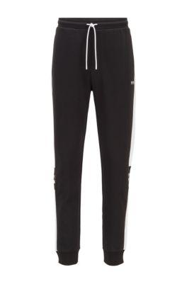 Jogginghose aus zweiseitigem Jersey mit Logo-Details, Schwarz
