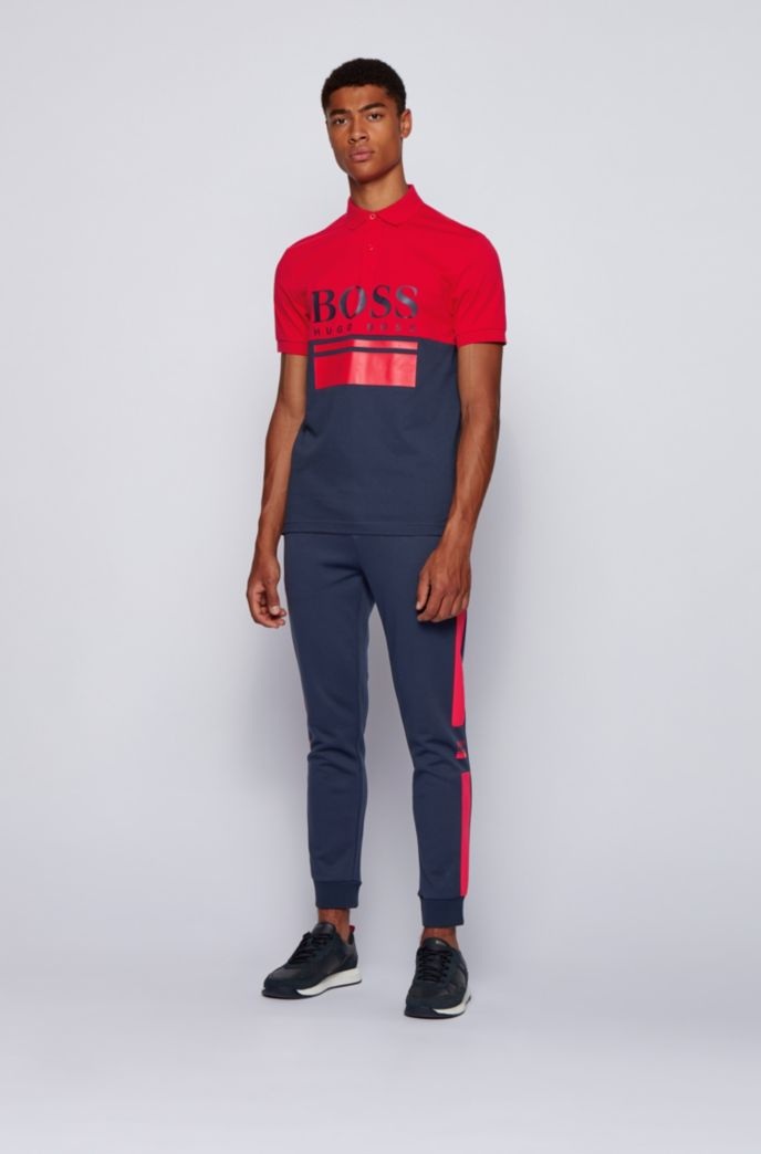 Jogging trousers in double-faced jersey with logo details