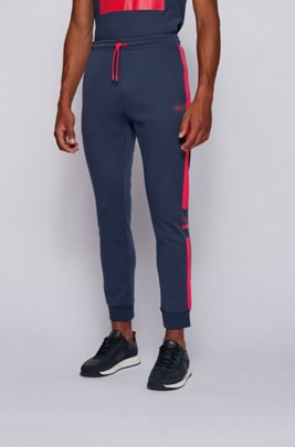 Jogging trousers in double-faced jersey with logo details, Patterned