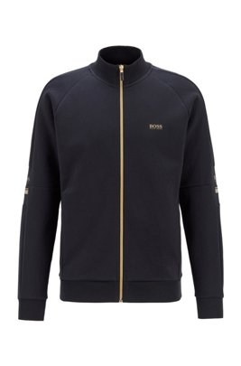 Zip-through sweatshirt in double-faced fabric, Dark Blue