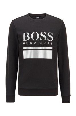 Slim-fit trui bedrukt met een logo-artwork, Zwart