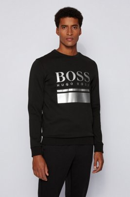 Slim-fit sweater with printed logo artwork, Black