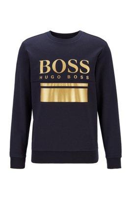 Slim-fit sweater with printed logo artwork, Dark Blue