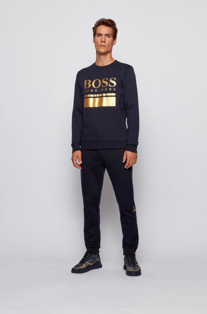 Slim-fit sweater with printed logo artwork