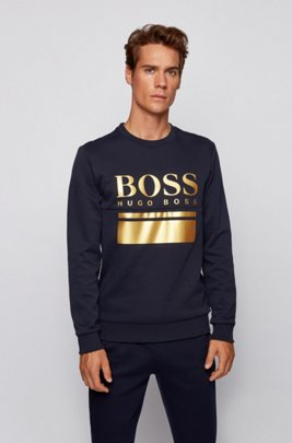 Slim-fit sweater with printed logo artwork, Dark Blue