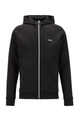 Kapuzen-Sweatjacke mit Logo-Print und kontrastfarbenem Reißverschluss, Schwarz