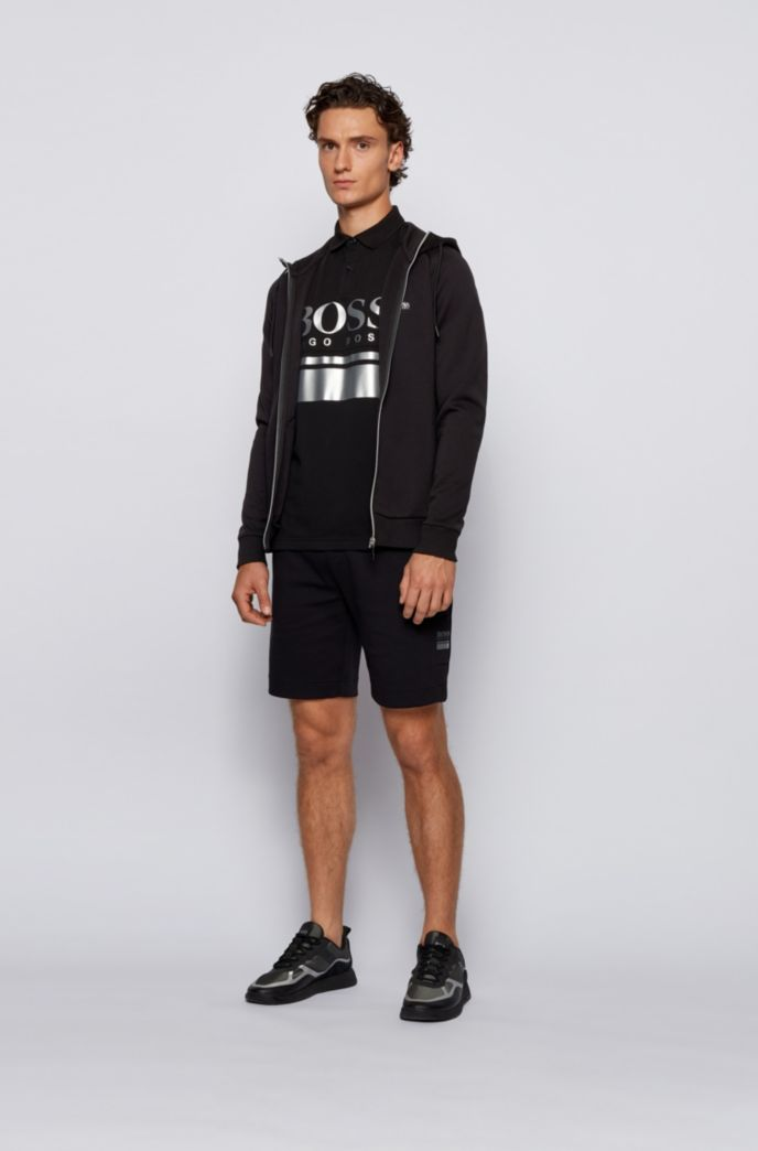 Logo-print hooded sweatshirt with contrast zip