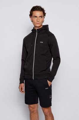 Logo-print hooded sweatshirt with contrast zip, Black