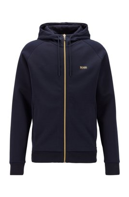 Logo-print hooded sweatshirt with contrast zip, Dark Blue