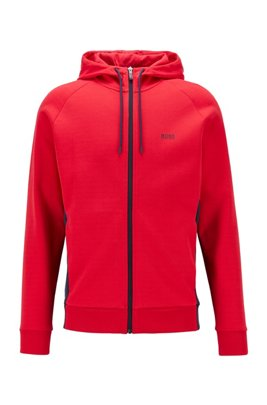 Logo-print hooded sweatshirt with contrast zip, Red