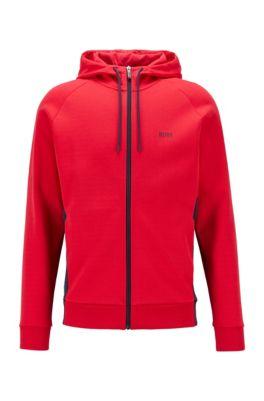 Logo-print hooded sweatshirt with contrast zip, Red