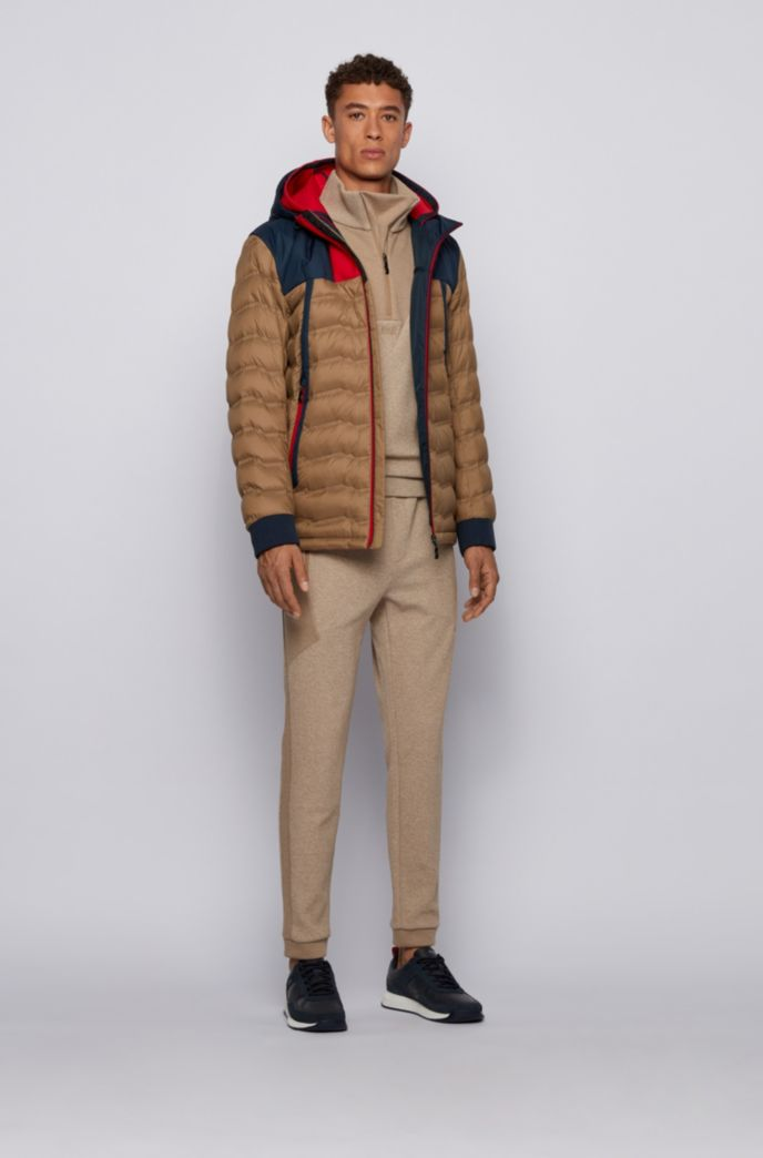 Colour-blocked water-repellent down jacket with double hood