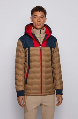 Colour-blocked water-repellent down jacket with double hood, Khaki
