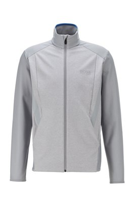 Zip-through sweatshirt in active-stretch S.Café® fabric, Light Grey