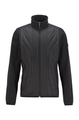 Water-repellent softshell jacket with quilted detailing, Black