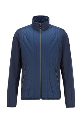 Water-repellent softshell jacket with quilted detailing, Dark Blue