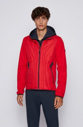 Water-repellent softshell jacket with quilted detailing, Red