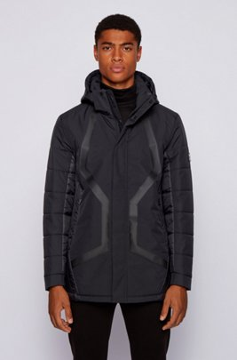 Water-repellent parka in laminated dobby fabric, Black