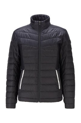 Water-repellent down jacket with contrast details, Black