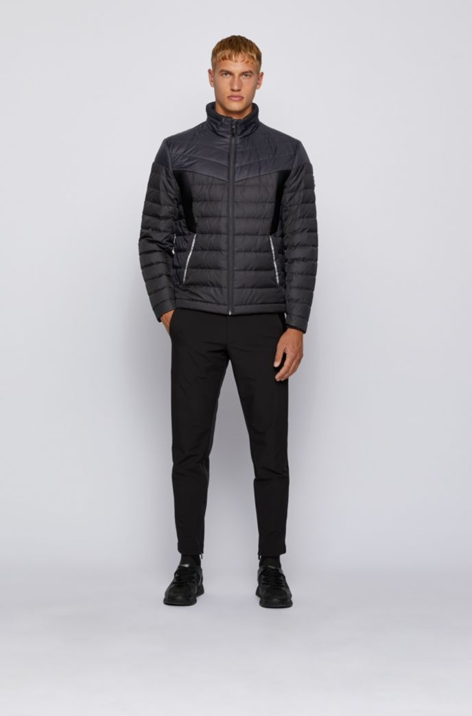Water-repellent down jacket with contrast details