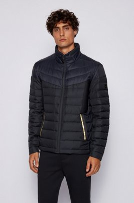 Water-repellent down jacket with contrast details, Dark Blue