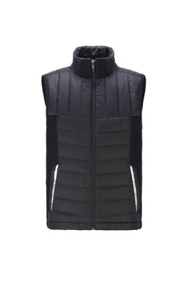 Water-repellent down gilet with stand collar, Black