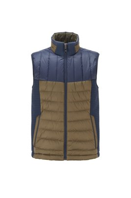 Water-repellent down gilet with stand collar, Blue