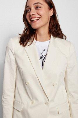 Veste croisée Regular Fit en coton stretch lavé, Blanc