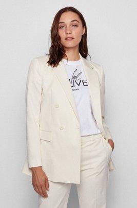 Regular-fit blazer met twee rijen knopen van gewassen stretchkatoen, Wit