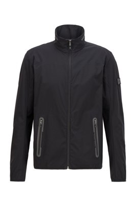 Water-repellent packable jacket in stretch fabric, Black