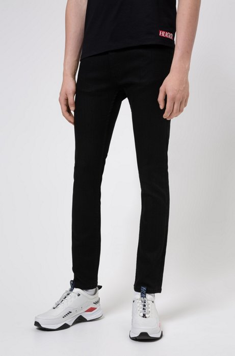 Extra-slim-fit black jeans in stretch denim, Black