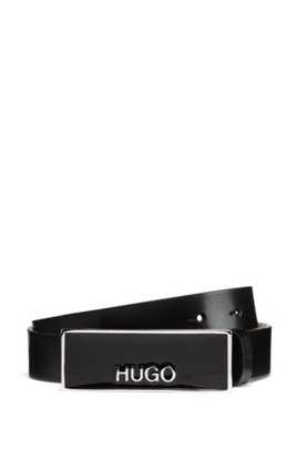 Italian-made belt in leather with logo-plate buckle, Black