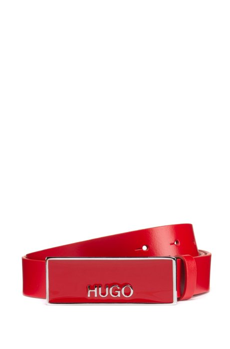 Italian-made belt in leather with logo-plate buckle, Red