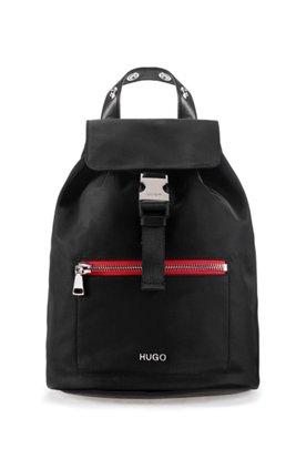 Nylon-gabardine backpack with contrast zip detail, Black