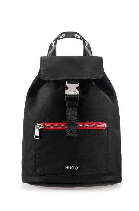 Rucksack aus Nylon-Gabardine mit kontrastfarbenem Reißverschluss, Schwarz