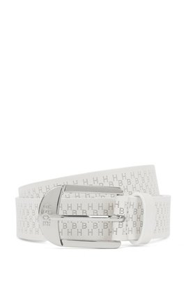 Italian-made belt in calf leather with lasered monograms, White