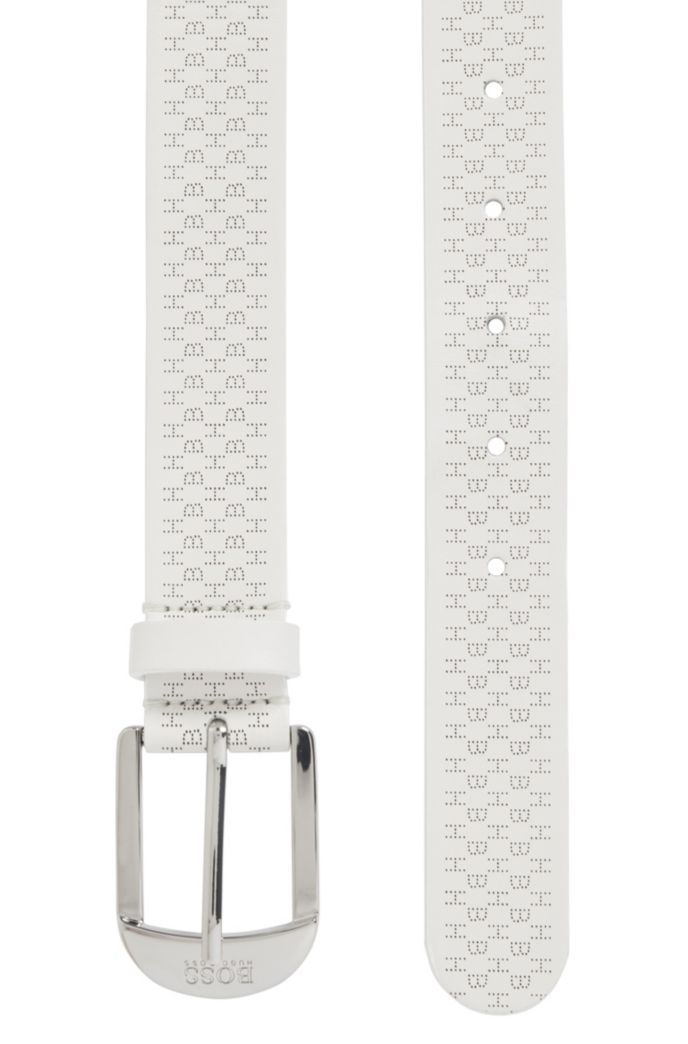 Italian-made belt in calf leather with lasered monograms