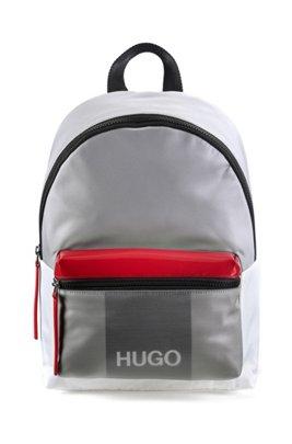 Nylon-gabardine backpack with faux-leather trims, Light Grey