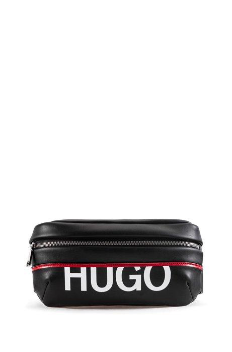 Faux-leather belt bag with new-season logo, Black
