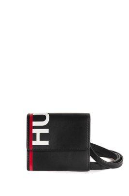 Portafoglio in similpelle con logo e cinturino rimovibile, Nero